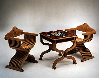 Chess Table and Chairs (photo by Dewy Mear)